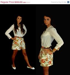 sale vtg 80s cream PLEATED high waisted FLORAL by TigerlilyFrocks, $30.60