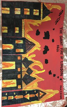 Great fire London ks1painting Fire London, Great Fire Of London, London Painting, Eyfs, Creativity, Movie Posters, Crafts, Art, Art Background