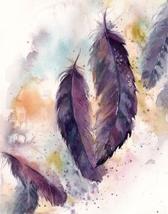 Feathers Original watercolor painting, purple feathers, painting of feathers, abstract background watercolour feathers painting - Art Painting Feather Drawing, Feather Wall Art, Watercolor Feather, Feather Painting, Watercolor Background, Watercolour Painting, Painting Abstract, Feather Background, Painting Canvas