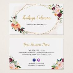 #Watercolor Bloom Floral Modern Geometric Frame Business Card - #floral #gifts #flower #flowers
