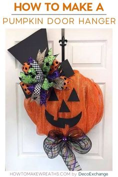 Who doesn't love decorating with pumpkins during the fall holidays? Y'all come join me to learn how to make a pumpkin door hanger aka wreath. By How To Make Wreaths Diy Halloween Gifts, Diy Halloween Home Decor, Halloween Decorations For Kids, Diy Holiday Gifts, Halloween Wreaths, Halloween Bottles, Pumpkin Door Hanger, Pumpkin Wreath, Diy Pumpkin