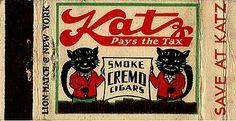 Cats in Art and Illustration: Vintage Katz Drugs matchbook