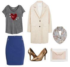W:  Bluzka, spódnica H&M  Buty Nine West  Płaszcz Mango  Szalik New Look  Torebka Zara