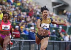 Carmelita Jeter wins the 100m final during the U.S. Olympic Trials at Hayward Field, in Eugene, Ore., Sat, Jun 23, 2012. Thomas Boyd/The Oregonian