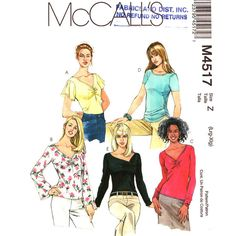 Womens Top Pattern McCalls 4517 Flared by finickypatternshop