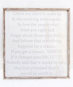 Loving this 'Life is Too Short' Framed Wall Sign on #zulily! #zulilyfinds