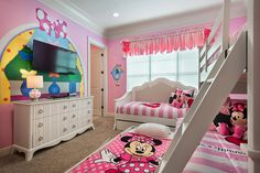 Shared Minnie Mouse bedroom for girls.