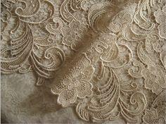Champagne Lace Fabric Crochet Lace Fabric  Bridal Lace door lacetime, $43.99