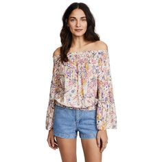 Free People Free Spirit Printed Top ($110) ❤ liked on Polyvore featuring tops, blouses, neutral, free people tops, off-shoulder blouses, peasant blouse, off shoulder peasant blouse and flower print blouse