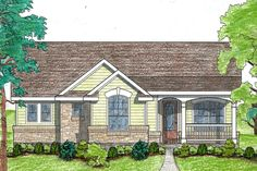 THE PERFECT PLAN!Ranch Style House Plan - 2 Beds 2 Baths 1092 Sq/Ft Plan #80-101 Exterior - Front Elevation - Houseplans.com