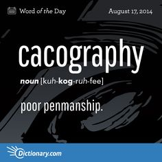 Cacography caused me years of pain beginning with a horrible grade teacher! At least it's legible now. Unusual Words, Rare Words, Big Words, Unique Words, Beautiful Words, Cool Words, English Vocabulary Words, English Words, Word Nerd