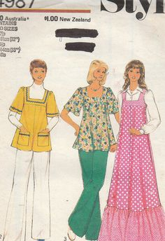 Simplicity Style Sewing Pattern Ladies 70s Retro Mini Maxi Dress Tops Size 8-10
