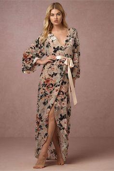 BHLDN velvet floor length robe