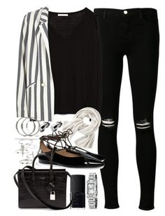 """""""Outfit for work with a striped blazer"""" by ferned ❤ liked on Polyvore featuring J Brand, Zara, River Island, NARS Cosmetics, Topshop, Wrap, Tory Burch, Yves Saint Laurent and Burberry"""