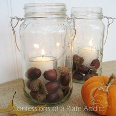 POTTERY BARN INSPIRED MASON JAR CANDLES...Super easy and fun...and practically free!