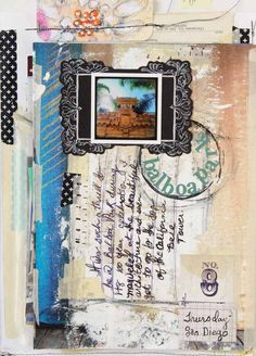 Roben-Marie Smith's art journal has gift bag handles attached so that she can carry it with her on-the-go. See the collection inside Art Journaling.