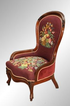 Antique Victorian Needlepoint Lady's Chair Found on RubyLane.com Victorian Home Decor, Victorian Furniture, Victorian Homes, Antique Furniture, Wooden Furniture, Living Vintage, Beautiful Sofas, Rustic Chair, Antique Chairs
