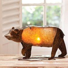 Hammered Metal Glass Bear Lamp