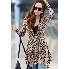 Wholesale Stylish Leopard Print 3/4 Sleeve Chiffon Cardigan For Women (BLACK,ONE SIZE), Sweater & Cardigan - Rosewholesale.com