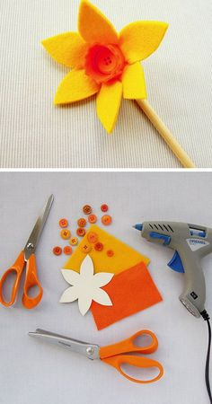Felt Daffodil | Click Pic for 20 DIY Mothers Day Craft Ideas for Kids to Make | Homemade Mothers Day Crafts for Toddlers to Make
