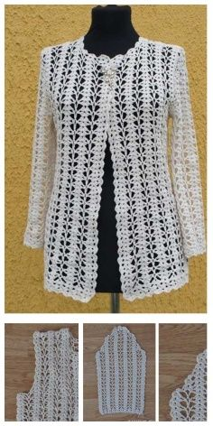 Crochet Cardigan for Summer Crochet Cardigan Pattern, Crochet Blouse, Crochet Lace, Baby Boy Knitting, Crochet Tablecloth, Jacket Pattern, Knit Jacket, Cotton Lace, Crochet Clothes