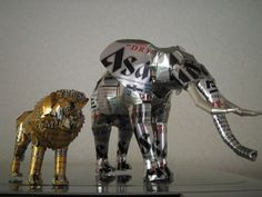 Beer Cans Converted into Small Statues