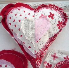shaggy quilted hearts - would make a cute full size pillow