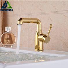 Single Handle Swivel Rotation Spout Kitchen Sink Faucet Bathroom Wash Basin Mixer Taps Golden Single Hole #Affiliate