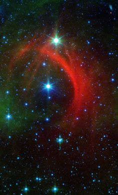 The Shocking Behavior of a Speedy Star | Roguish runaway stars can have a big impact on their surroundings as they plunge through the Milky Way galaxy. Their high-speed encounters shock the galaxy, creating arcs, as seen in this newly released image from NASA's Spitzer Space Telescope.