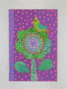 Flower and Bird  Quilted Appliqued Fabric Postcard. $6.00, via Etsy.