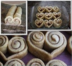Cinnamon Heart Rolls - Instead of rolling the cinnamon rolls straight across, roll up both sides until they meet in the middle. Slice and bake :) Mais Cinnamon Roll French Toast, French Toast Bake, Cinnamon Rolls, Breakfast Casserole With Biscuits, Breakfast Bake, Cinnamon Hearts, Creative Food, Food To Make, Sweet Treats