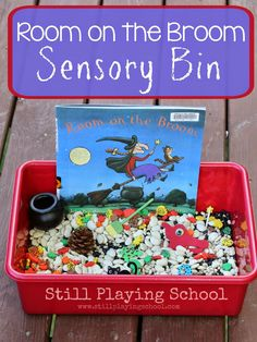 Room on the Broom by Julia Donaldson Sensory Bin Retelling Activity from Still Playing School. Book based play and activities. Theme Halloween, Halloween Activities, Autumn Activities, Halloween Crafts, Preschool Halloween, Pirate Preschool, Retelling Activities, Sensory Activities, Preschool Activities