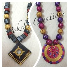 Terracotta jewellery- black and gold, pink violet and gold