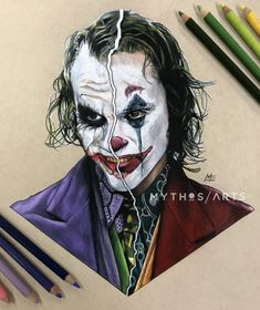 Ledger/Phoenix The Joker by Matthew Edewaard Der Joker, Joker Art, Joker And Harley Quinn, Joker Poster, Joker Heath, Joker Images, Joker Pics, Batman Tattoo, Joker Kunst
