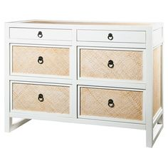 The Polo Six Drawer Storage and Shelving features 6 drawers, bronze ring pulls, drawer glides, and a white lacquer and whitewashed rattan finish.  47.5 x 20 x 36H  $2015