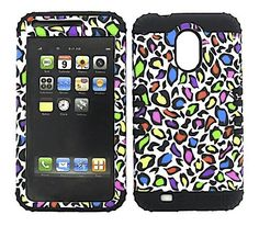 For Samsung Galaxy S Ii S2 Epic 4g Touch Sprint D710 Us Cellular R760 Black Hybrid Impact Hard Protector Case With Soft Rubber Silicone Two Layer Double Rugged Snap On Colorful Leopard Cell Phone Cover Skin Faceplate. Quantity: 1 Rubber skin & Hard Plastic Cover Hybrid 2 in 1 Design. Prevents scratches and damages to your phone. Specifically-cut for access to all buttons and ports. Phone is Fully Protected in Case. Simple Installation. Rubber slides over Phone and Plastic Cover snaps on…