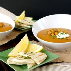 Egyptian red lentil soup with spiced roasted chickpeas and chive flatbreads