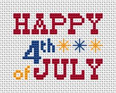 This free Fourth of July cross stitch pattern includes three colors: red,blue and yellow,text and a few fireworks(back stitches). Have a happy birthday,America! Cross Stitch Kits, Counted Cross Stitch Patterns, Cross Stitch Designs, Cross Stitch Embroidery, Hardanger Embroidery, Hand Embroidery, Crochet Cross, Crochet Chart, Filet Crochet