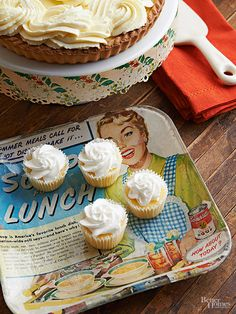 Turn clear glass serving platters into unique display pieces by reusing vintage advertisements. Trace the bottom of the dish (use one with a flat bottom) and trim the page to size. Use a small foam brush and decoupage medium to adhere the paper to the underside of the dish. Smooth out any bubbles, beginning from the center and working toward the edges.