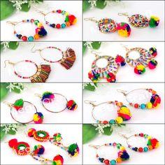 Designer Pom Pom Bali Earrings Retail : https://www.craftnfashion.com Whatsapp : 9375519381 E-mail : craftnjewelery@gmail.com