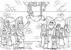 Jesus heals a paralyzed man The Bible App for Kids story Through the Roof teaches kids about the Bible with fun videos, coloring sheets, activities and more! Bible Stories For Kids, Bible Story Crafts, Bible Crafts For Kids, Man Crafts, Jesus Stories, Jesus Coloring Pages, Coloring Book Art, Online Coloring Pages, Toddler Sunday School