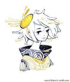 Egg, gold and black ink