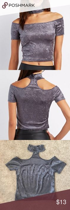 🆕Velvet, Mock Neck, Skimmer top Brand new. Never worn🔥🔥 Super adorable for a girls night out or a date night😉 Can be worn on or off the shoulder. Velvet adds luxe texture to this sexy top. Modern mock neck design creates a choker illusion. I am 5'4 and for me it falls about an 1/2 inch above my belly button, so I would consider this a CROP TOP. Inside material is 100% polyester. Runs true to size. No trades😘 Tops Crop Tops
