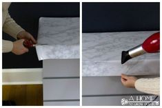 An easy Ikea hack to update your Malm dresser! Great tips on painting laminate furniture as well as how to apply a faux marble top. Check out the before and after pictures of this project!