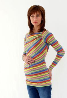 Ασύμμετρη μπλούζα -τουνίκ με πολυχρωμες ρίγες Pregnancy Clothes