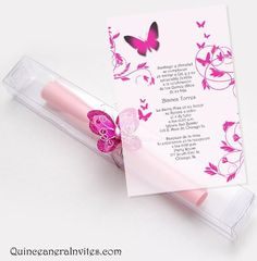 invitations for quinceaneras | ... Invitations Kit - Butterflies & Box Quinceanera Invitations, Quince