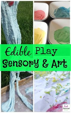 Edible Sensory and Art Play - Baby safe slime and paint!  So much for for your baby girl or baby boy! -Pink Oatmeal