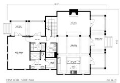 Beach Style House Plan - 3 Beds 4 Baths 2383 Sq/Ft Plan #443-1 Floor Plan - Main Floor Plan - Houseplans.com