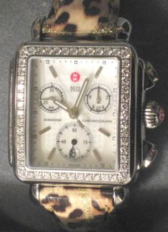 Michele watch with leopard band. Obviously!