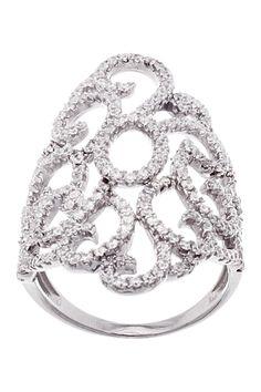 Sterling Silver CZ Filigree Swirl Ring